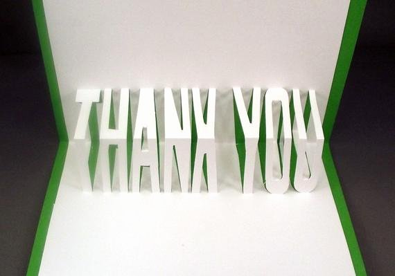 Thank You Pop Up Cards Awesome 3d Pop Up Thank You Greeting Card Handmade Card Friendship