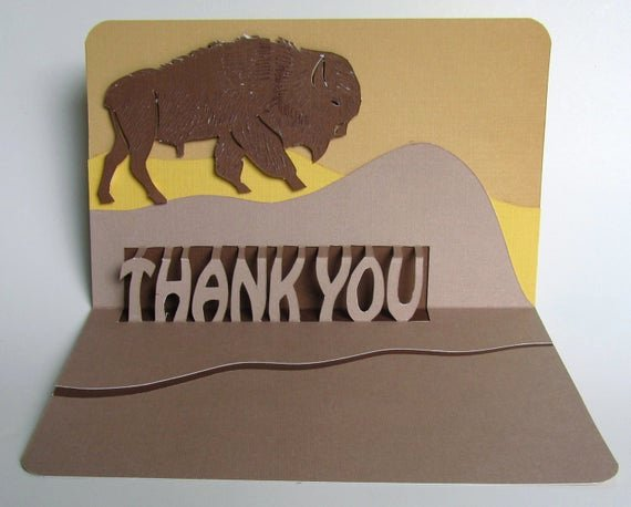 Thank You Pop Up Cards Beautiful Bison Thank You Pop Up Card Handmade original Design In Earth