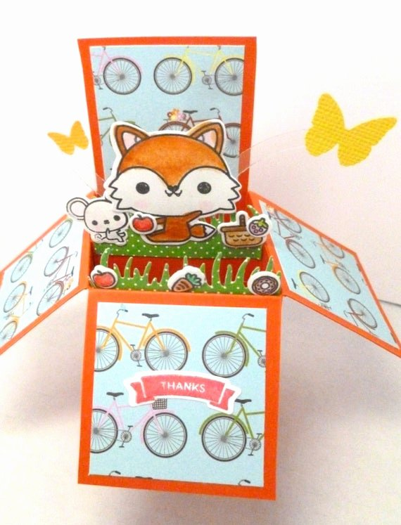 Thank You Pop Up Cards Beautiful Items Similar to Box Pop Up Card Thank You Card Fox Pop Up Woodland Creature theme Picnic In