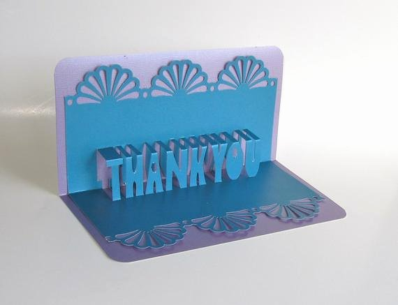 Thank You Pop Up Cards Beautiful Thank You 3d Pop Up Greeting Card In Metallic Blue On Metallic