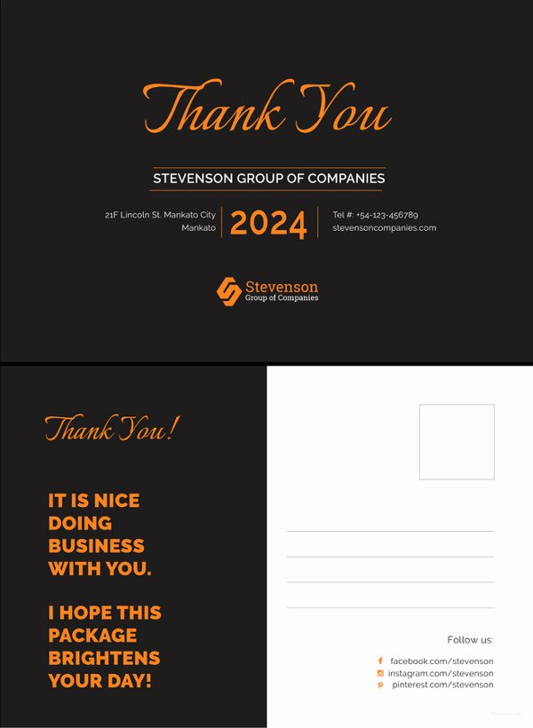 Thank You Postcard Template Best Of 21 Thank You Postcard Templates – Free Sample Example format Download