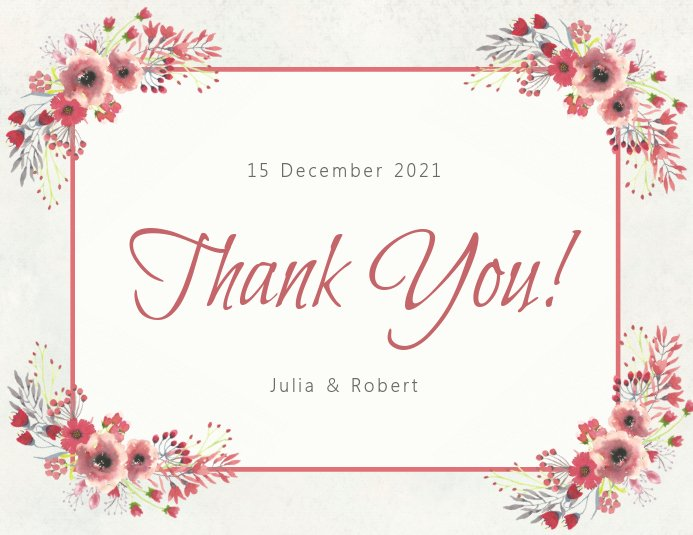 Thank You Postcard Template Elegant Copy Of Floral Thank You Card Template
