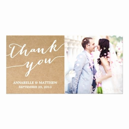 Thank You Postcard Template Elegant Modern Calligraphy Wedding Thank You Photo Card