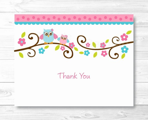 Thank You Postcard Template Inspirational Pink Owl Thank You Card Folded Card Template Owl Baby