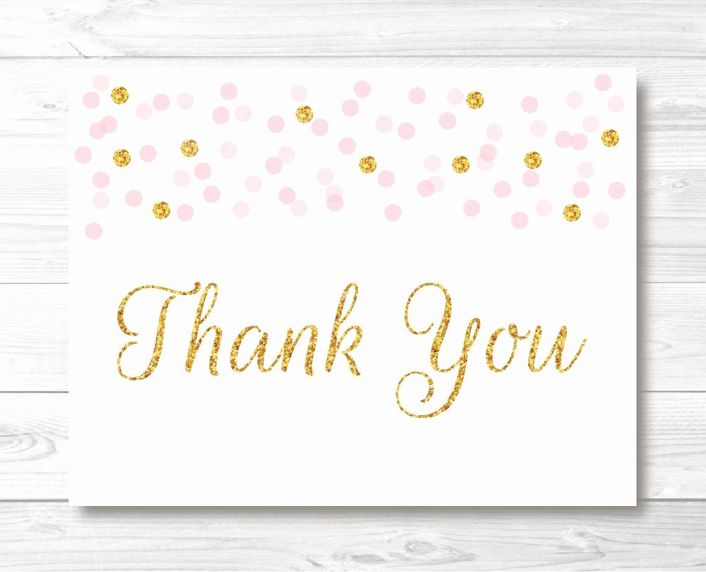 Thank You Postcard Template Luxury Pink & Gold Glitter Confetti Folded Thank You Card Template