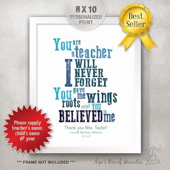 Thank You Preschool Teacher Awesome 8x10 Personalized Teacher Appreciation Gift Idea Teacher