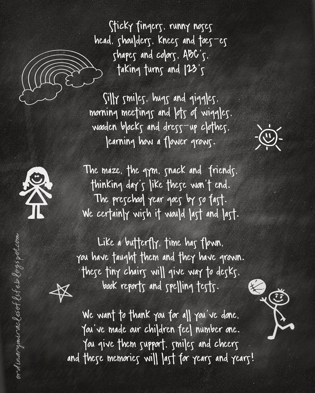 Thank You Preschool Teacher Awesome ordinary Miracles Of Life Preschool Teacher Gift