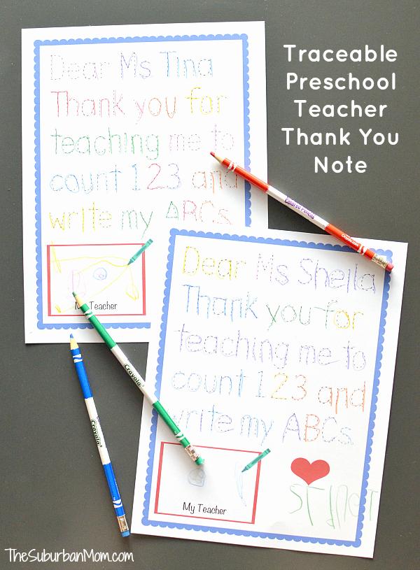 Thank You Preschool Teacher Inspirational Traceable Preschool Teacher Thank You Note