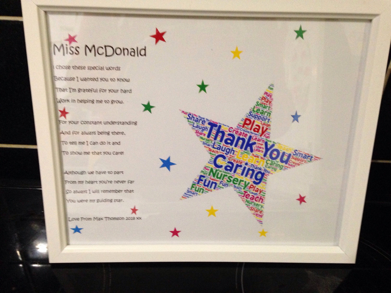 Thank You Preschool Teacher Lovely Thank You Poem Gift for Preschool Teacher Teachers Leaving