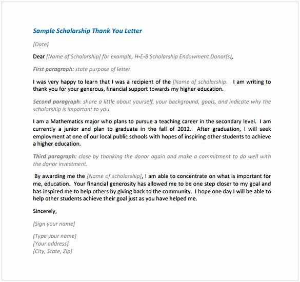 Thank You Scholarship Letter Awesome Thank You Letter for Scholarship Sample