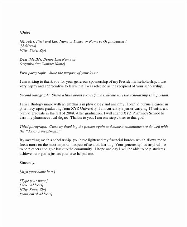 Thank You Scholarship Letter Elegant Scholarship Thank You Letter Samples Examples Templates 7 Documents In Pdf Word