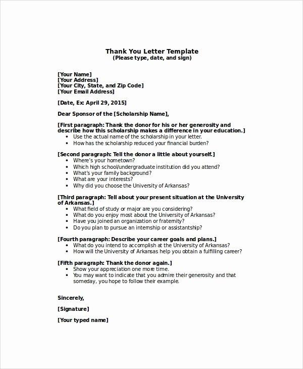 Thank You Scholarship Letter Inspirational Sample Thank You Letter for Scholarship 7 Examples In Word Pdf