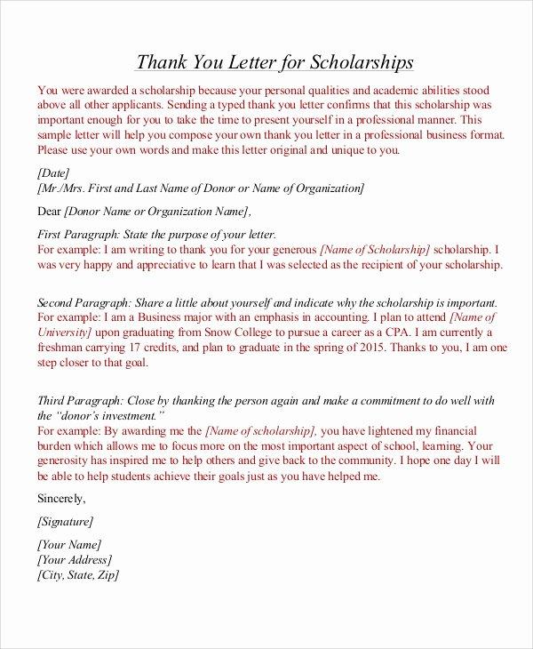 Thank You Scholarship Letter Unique Sample Thank You Letter for Scholarship 7 Examples In Word Pdf