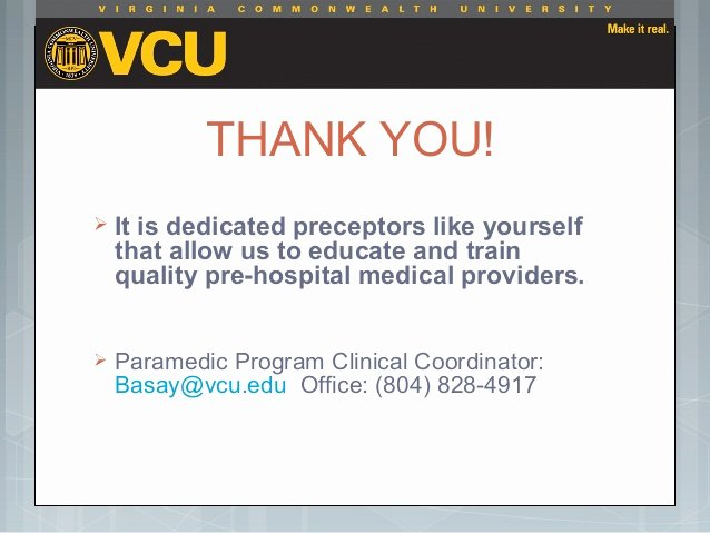 Thank You to Preceptor Beautiful Vcu Field Preceptor orientation