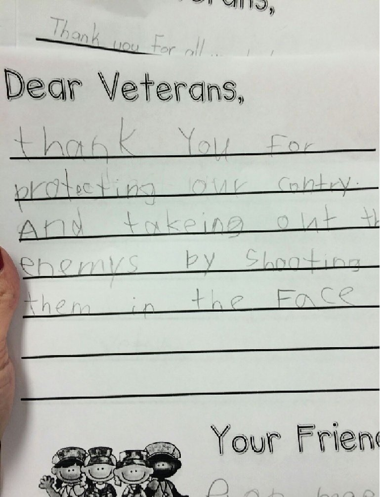Thank You Veteran Letters Fresh Great Veterans Day Letter From A 2nd Grader Funny