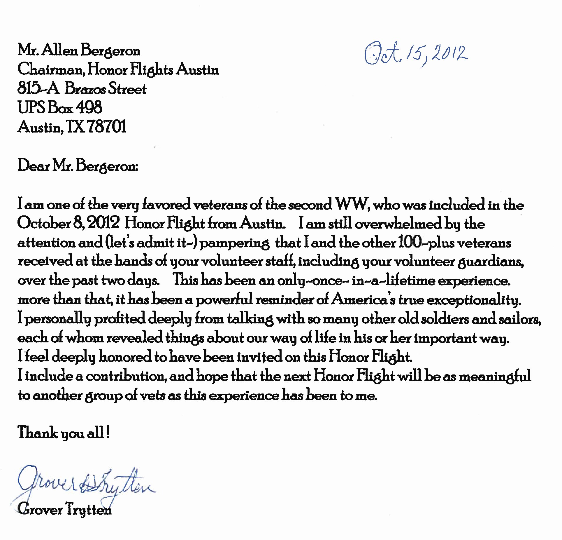 Thank You Veteran Letters New Thank You From Our Wwii Veterans Honor Flight Austin