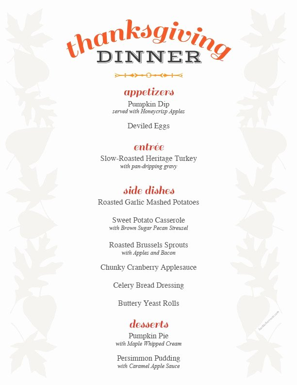 Thanksgiving Dinner Menu Template Awesome Thanksgiving Menu Printable Holiday Recipe Roundup