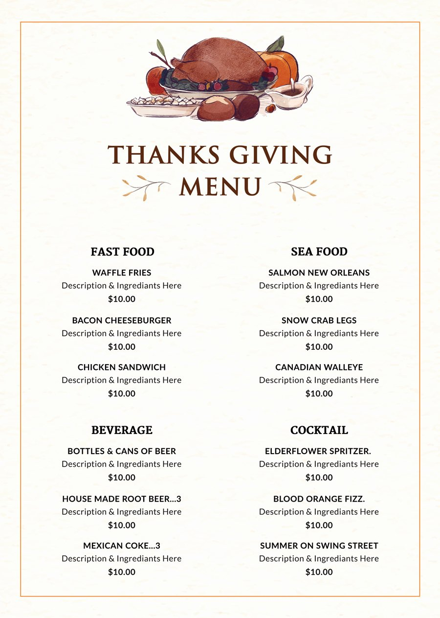 Thanksgiving Dinner Menu Template Beautiful 35 Awesome Thanksgiving Menu Templates Template Lab