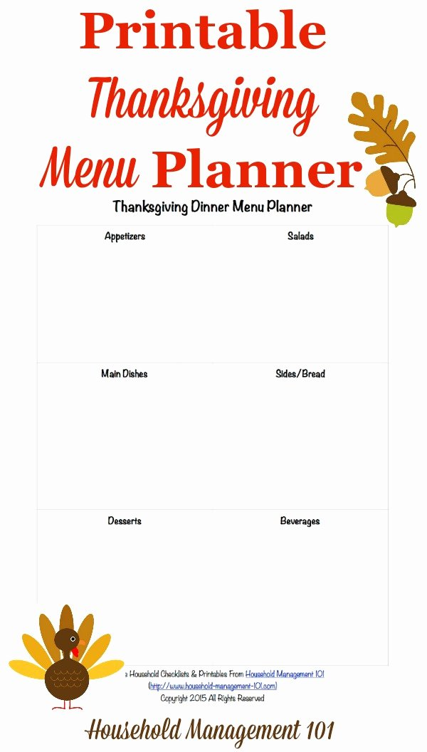 Thanksgiving Dinner Menu Template Best Of Free Printable Thanksgiving Dinner Menu Planner