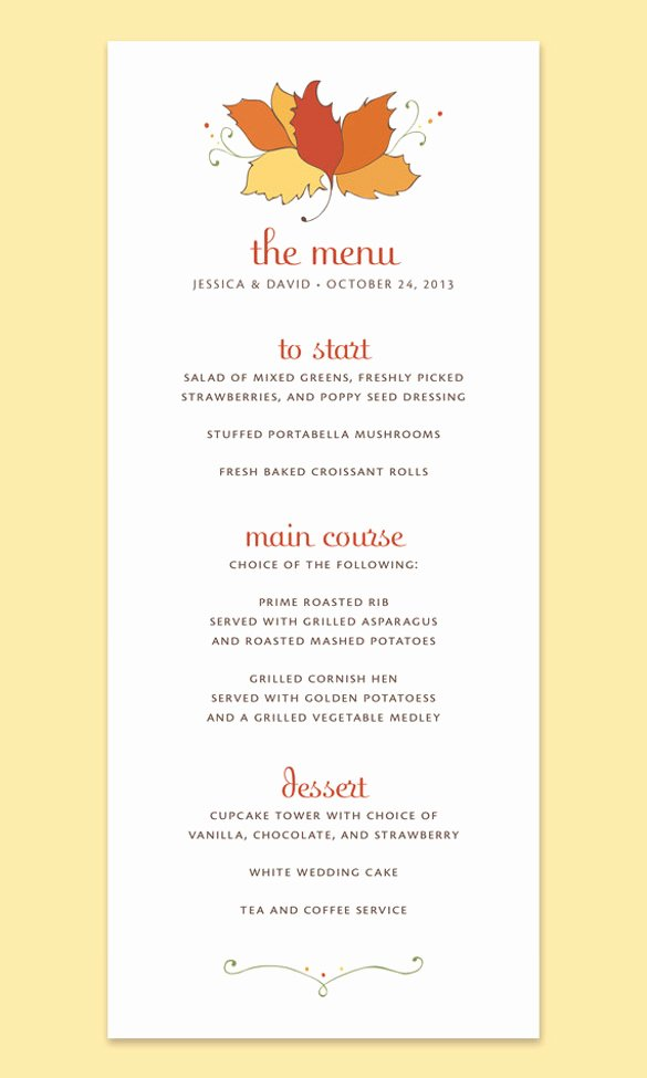Thanksgiving Dinner Menu Template Elegant 25 Thanksgiving Menu Templates Free Sample Example