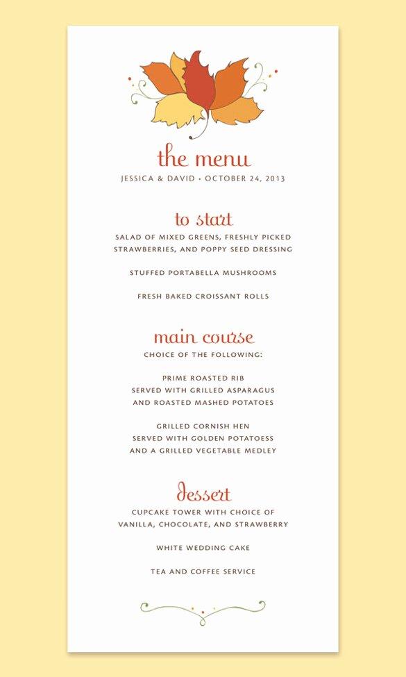 Thanksgiving Dinner Menu Template Elegant 25 Thanksgiving Menu Templates Free Sample Example