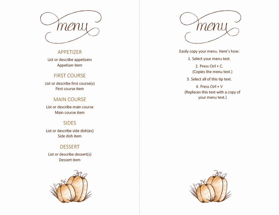 Thanksgiving Dinner Menu Template Elegant 35 Awesome Thanksgiving Menu Templates Template Lab
