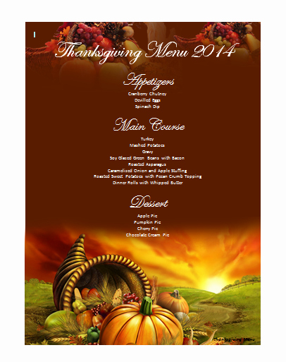 Thanksgiving Dinner Menu Template Elegant Menu Templates Archives Microsoft Word Templates
