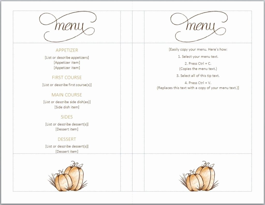 Thanksgiving Dinner Menu Template Fresh Free Thanksgiving Menu Template