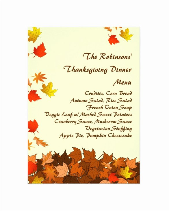 Thanksgiving Dinner Menu Template Inspirational 25 Thanksgiving Menu Templates Free Sample Example