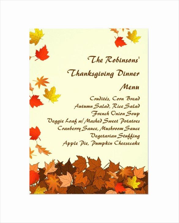 Thanksgiving Dinner Menu Template Inspirational 25 Thanksgiving Menu Templates Free Sample Example