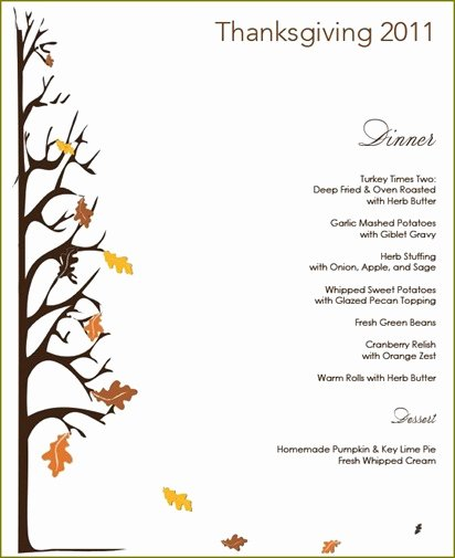 Thanksgiving Dinner Menu Template Inspirational Thanksgiving Menu Template