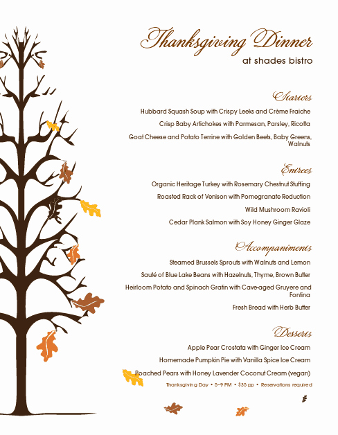 Thanksgiving Dinner Menu Template Inspirational Traditional Thanksgiving Menu