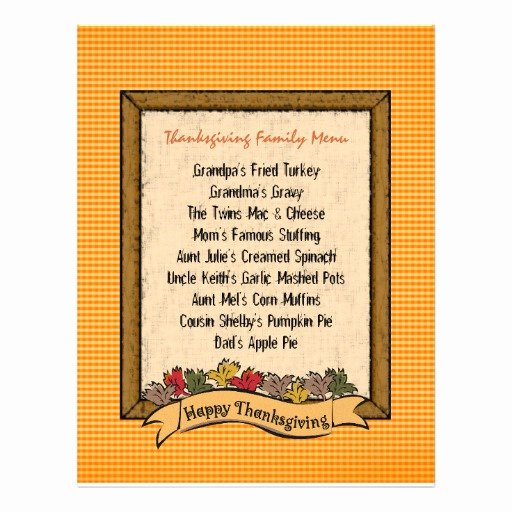 Thanksgiving Dinner Menu Template Lovely Thanksgiving Menu Template Full Color Flyer