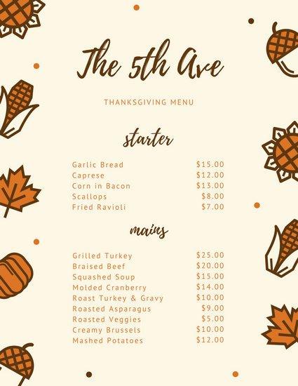 Thanksgiving Dinner Menu Template New Customize 40 Thanksgiving Menu Templates Online Canva