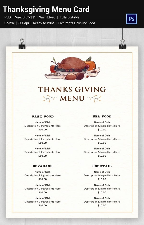 Thanksgiving Dinner Menu Template Unique 25 Thanksgiving Menu Templates Free Sample Example