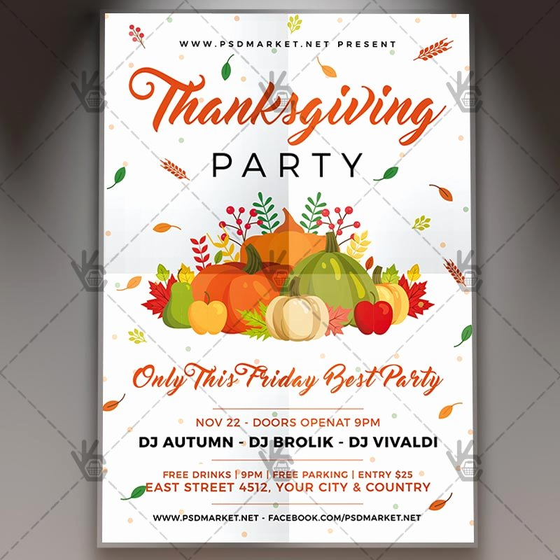 Thanksgiving Flyer Template Free Awesome Download Thanksgiving Party Flyer Psd Template