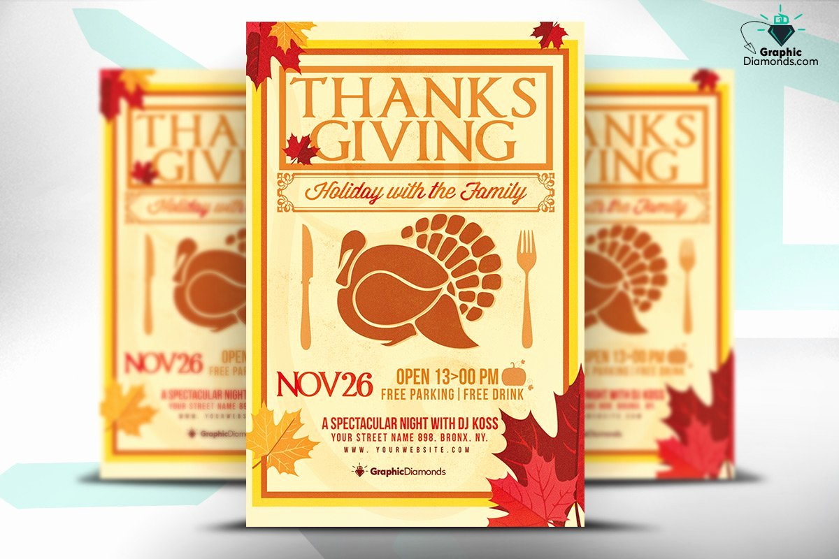 Thanksgiving Flyer Template Free Awesome Thanksgiving Holiday Psd Flyer Flyer Templates Creative Market