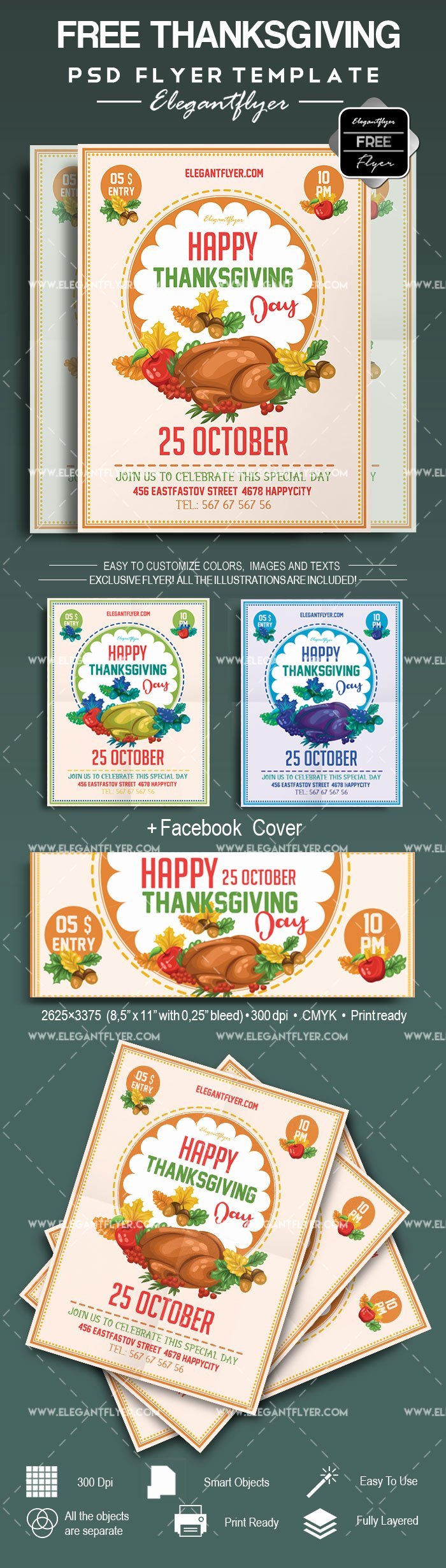 thanksgiving day free flyer psd template cover 2