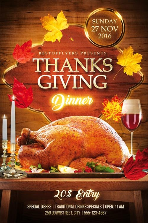 Thanksgiving Flyer Template Free Best Of Thanks Giving Dinner Free Psd Flyer Template Download for Shop