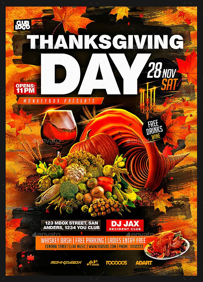 Thanksgiving Flyer Template Free Lovely Thanksgiving Day Flyer Template by Monkeybox