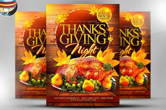 Thanksgiving Flyer Template Free Lovely Thanksgiving Night Flyer Template Flyer Templates Creative Market