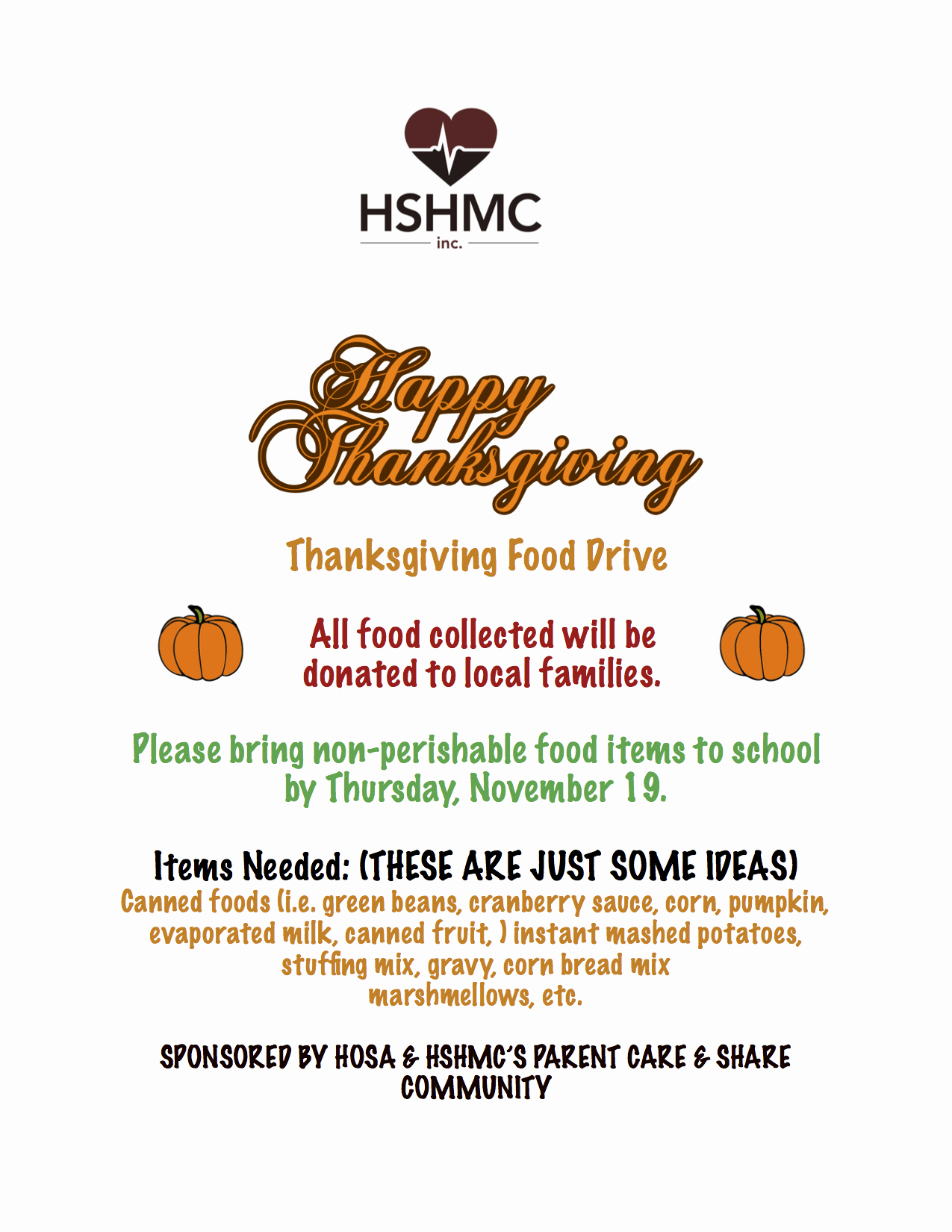 Thanksgiving Food Drive Flyer Awesome News Health Sciences High and Middle College