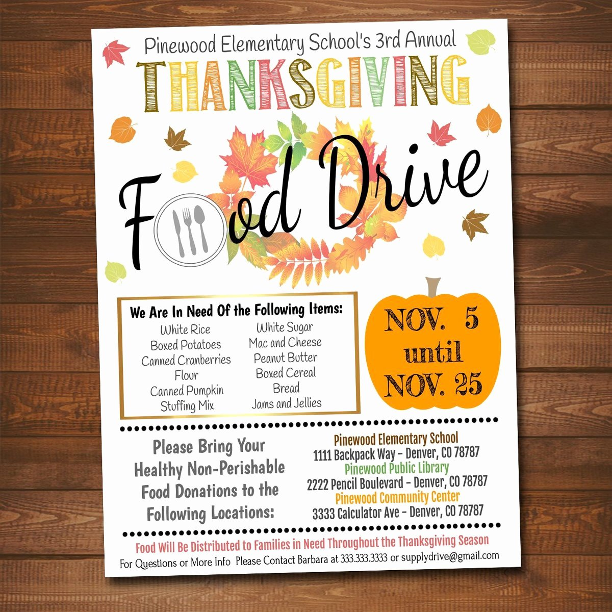 Thanksgiving Food Drive Flyer Beautiful Editable Fall Food Drive Flyer Printable Pta Pto Flyer School Church – Tidylady Printables