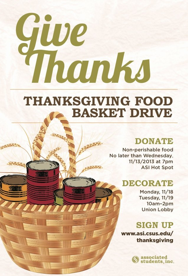 Thanksgiving Food Drive Flyer Elegant Students Give Back to the Local Munity asi associated Students Inc