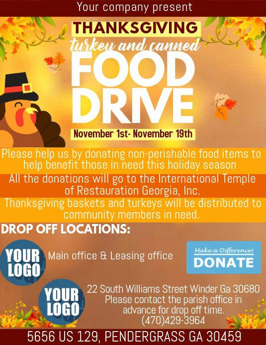 Thanksgiving Food Drive Flyer Fresh Thanksgiving Food Drive Template
