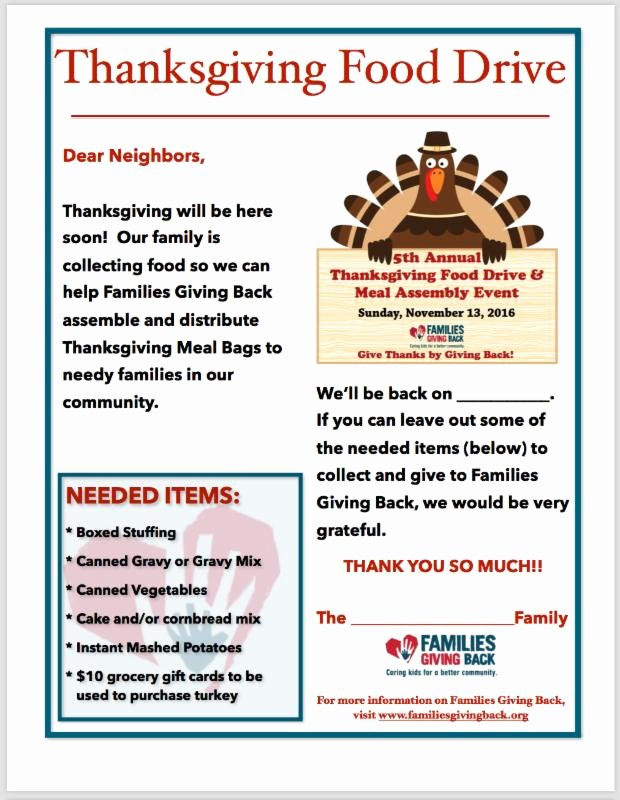 Thanksgiving Food Drive Flyer Lovely Families Giving Backat Home Volunteer Project Ideas Families Giving Back