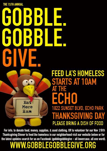 Thanksgiving Food Drive Flyer Lovely Gobble Gobble Give 2014 – Tickets – the Echo – Los Angeles California – November 27th 2014