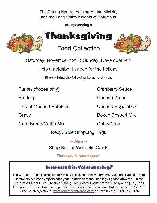 Thanksgiving Food Drive Flyer Luxury Thanksgiving Food Drive St Luke Long Valley Long Valley Nj