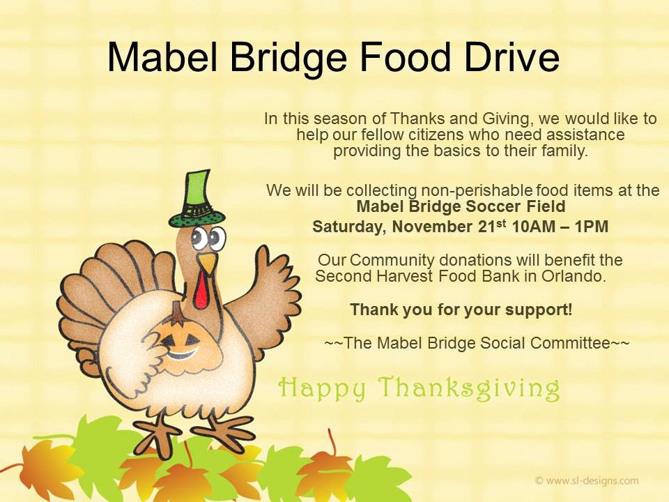 Thanksgiving Food Drive Flyer New Mabel Bridge Thanksgiving Food Drive