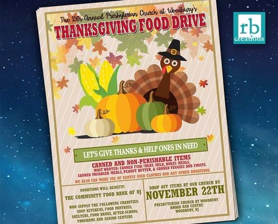 Thanksgiving Food Drive Flyer Unique event Flyer Food Drive Flyer Thanksgiving Flyer Autumn